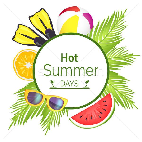 Caliente día de verano anunciante título círculo marco Foto stock © robuart
