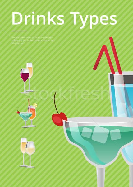 напитки тип объявление плакат синий коктейль Сток-фото © robuart