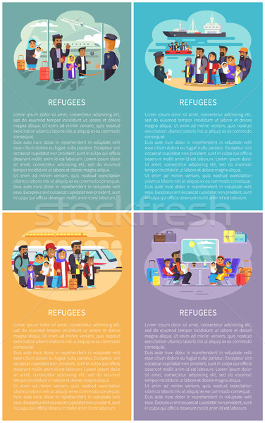 Refugees Posters Collection Vector Illustration Stock photo © robuart