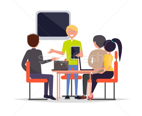 Spotkanie biznesowe ludzi posiedzenia krzesła słuchania człowiek Zdjęcia stock © robuart