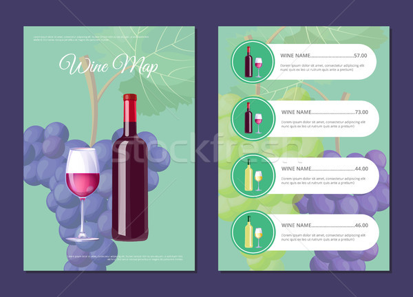 Stylish Wine Map Cover and Page with Prices Set Stock photo © robuart