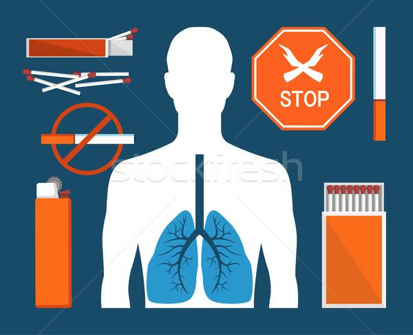 Stop fumare tabacco sigarette colorato poster Foto d'archivio © robuart