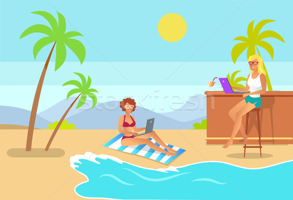 Freelance vrouwen strand vector illustratie freelancer Stockfoto © robuart
