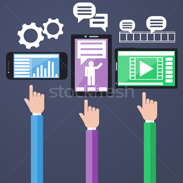 Számítógépek okostelefon grafikonok üzlet hírek berendezés Stock fotó © robuart