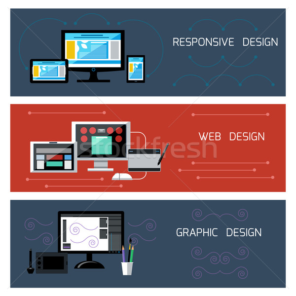 Web design sympathiek grafisch ontwerp iconen business telefoon Stockfoto © robuart