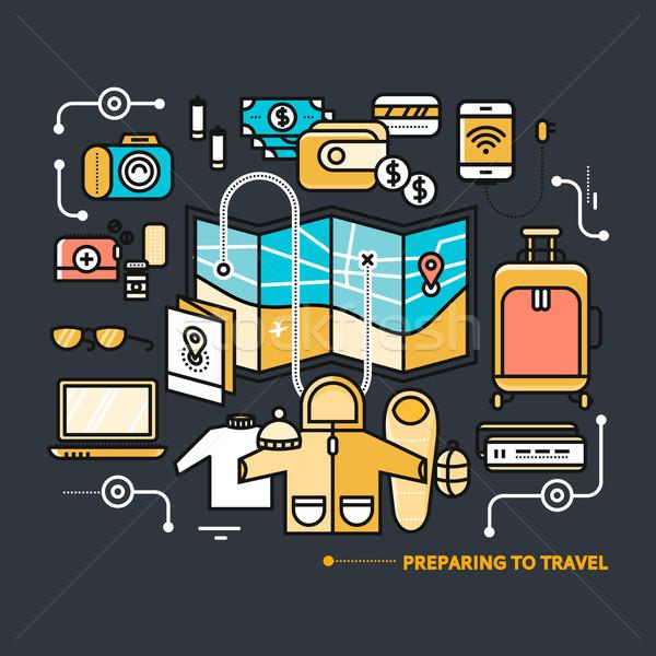 Reizen noodzakelijk wat pack reis dun Stockfoto © robuart