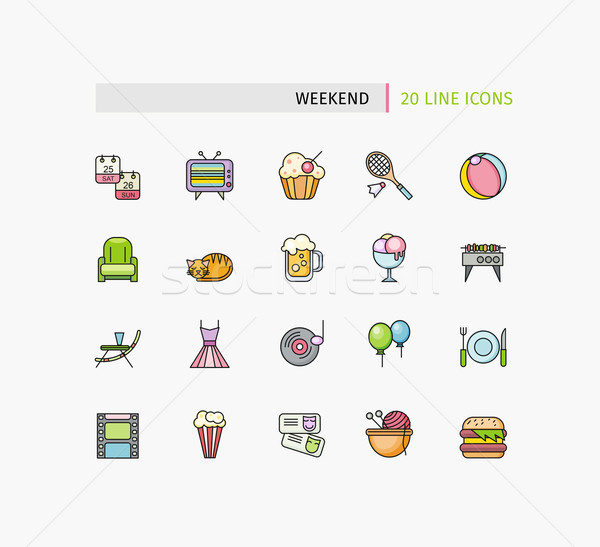 Set of Thin Lines Weekend Picnic Icons Stock photo © robuart