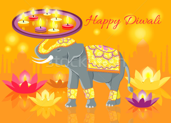 Happy Diwali Elephant Indian Celebrate Stock photo © robuart