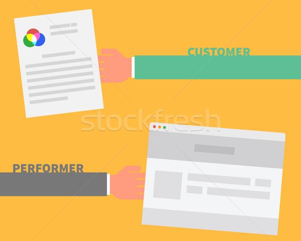 Fizetés rendelés vásárló előadó üzlet megállapodás Stock fotó © robuart
