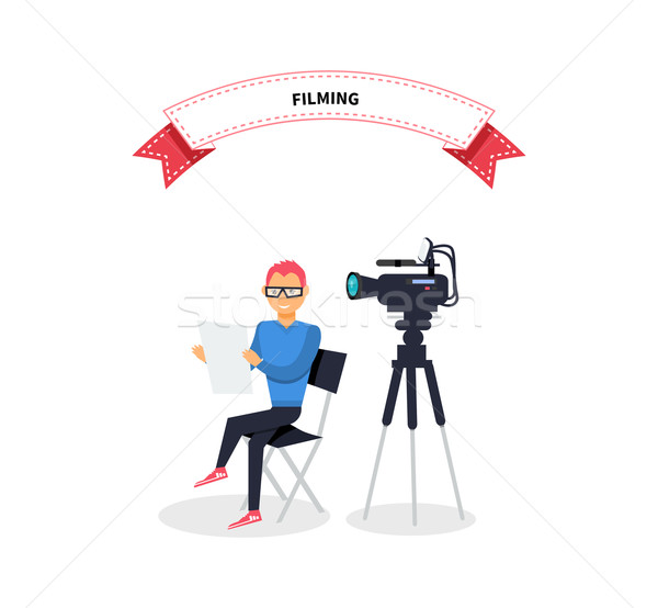 Filming Producer Man Design Flat Stock photo © robuart