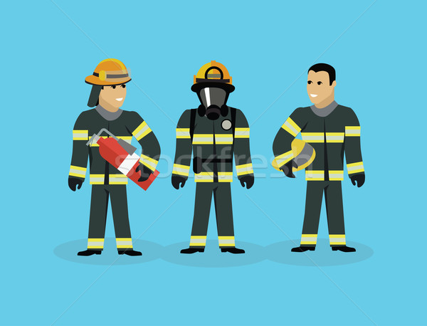 Strażacy zespołu ludzi grupy stylu strażak Zdjęcia stock © robuart