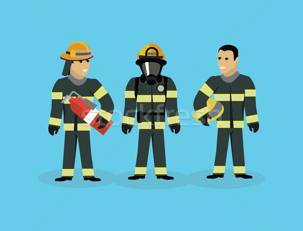 Bomberos equipo personas grupo estilo bombero Foto stock © robuart