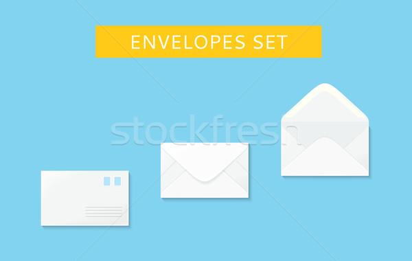 Stock photo: Envelope Set Open and Close Design Flat