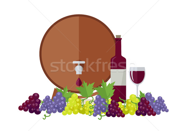 Wooden Barrel with Wine. Different Grapes Sorts . Stock photo © robuart