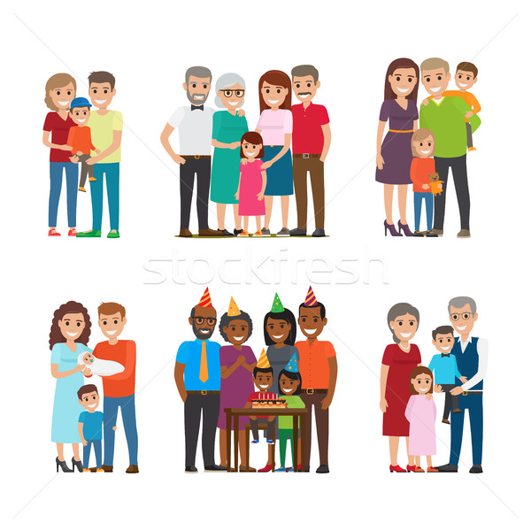 Group Portraits of Happy Families Vector Set Stock photo © robuart
