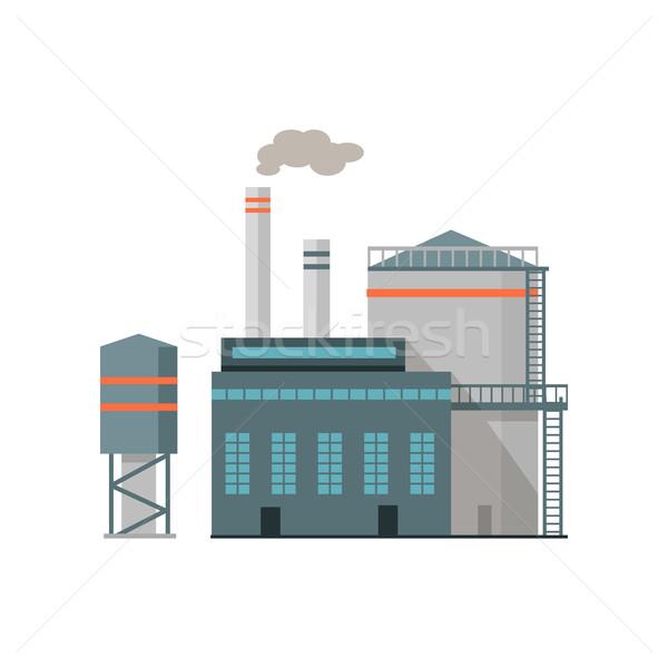 Industrie bâtiment isolé blanche icône usine Photo stock © robuart