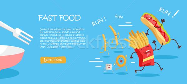 Fast food stijl vector web banner glimlachend Stockfoto © robuart