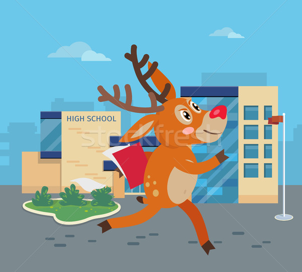 Deer Running to School with Books. Reindeer Vector Stock photo © robuart