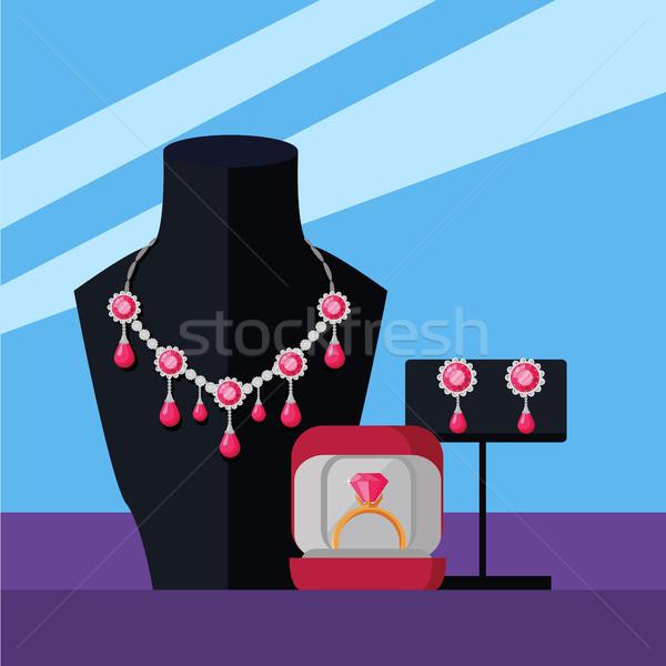 Sieraden ingesteld ketting ring oorbellen geïsoleerd Stockfoto © robuart