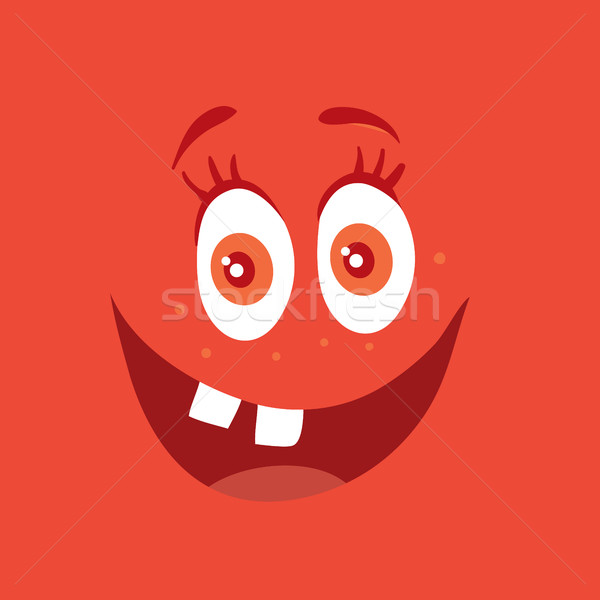 Funny Smiling Monster Red Smile Bacteria Character Stock photo © robuart