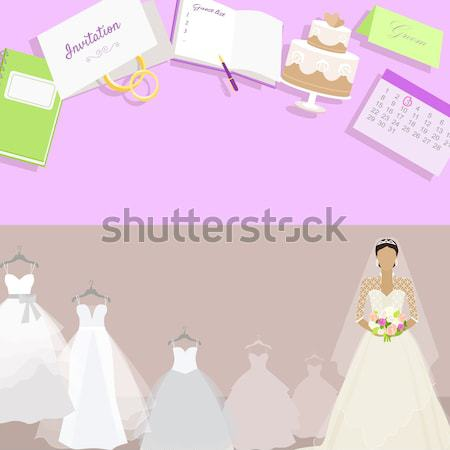 Wedding Dress Web Banner. Fashionable Bride Vector Stock photo © robuart