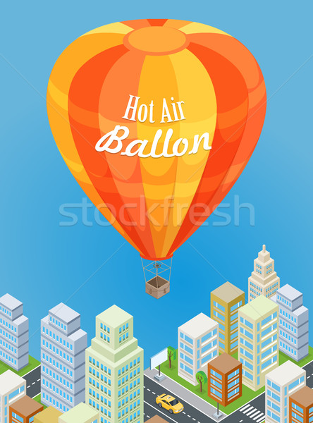 Hot Air Balloon Flying Over Urban City. Aircraft. Stock photo © robuart