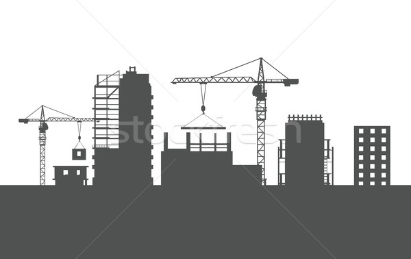 Négy befejezetlen épületek kettő sziluettek ipari Stock fotó © robuart