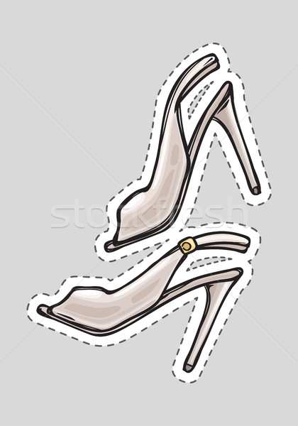 Women High Heel Shoes Patch with Dashed Line. Stock photo © robuart