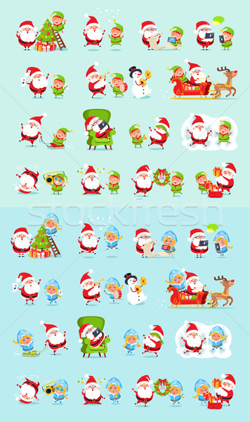 Santa, Reindeer, Snow Maiden, Ice Princess Elf Set Stock photo © robuart