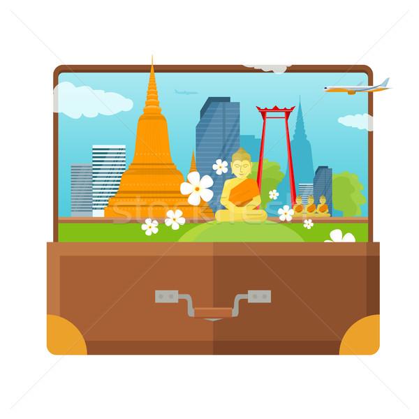 Viaje anunciante turismo diseno abierto maleta Foto stock © robuart