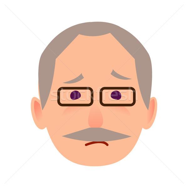 üzücü yaşlı adam gözlük yüz vektör ikon Stok fotoğraf © robuart