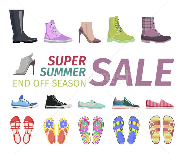 Supper Summer Shoes Sale Flat Vector Concept Stock photo © robuart