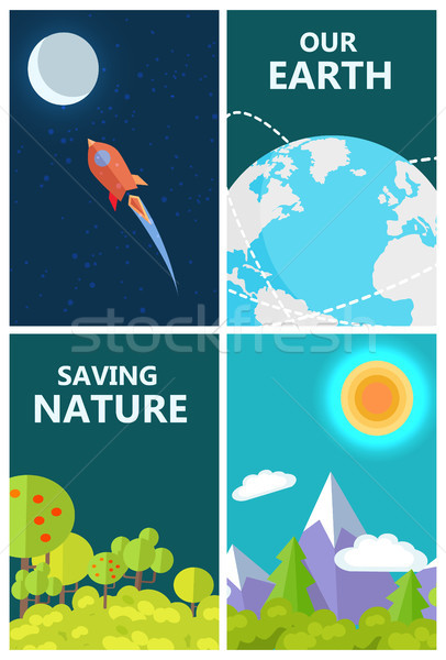 Save Earth Poster with Life on Planet and Space Stock photo © robuart