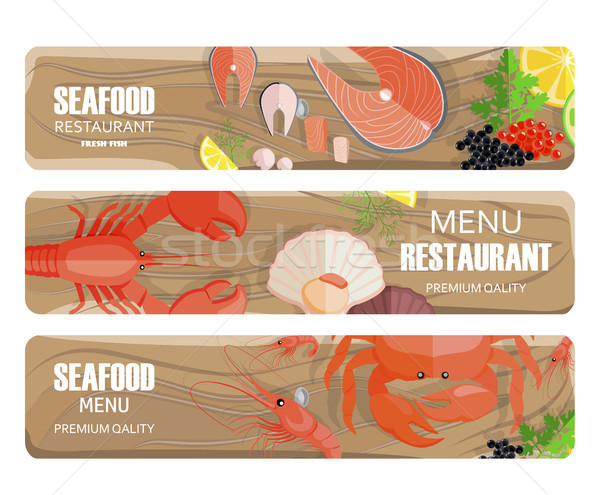 Seafood of Premium Quality Set on Wooden Board Stock photo © robuart