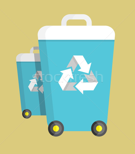 Trash Can on Wheels with Recycling Symbol Vector Stock photo © robuart