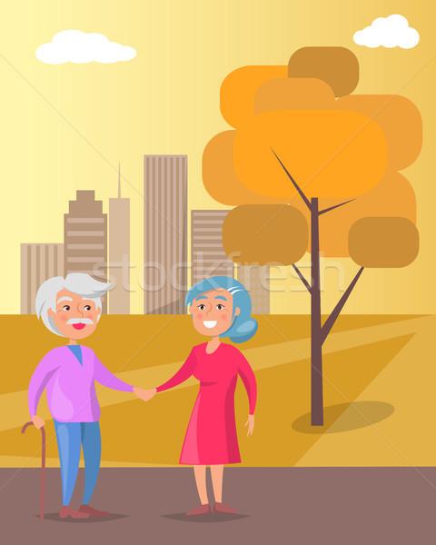 Stockfoto: Gelukkig · grootouders · dag · lopen · samen