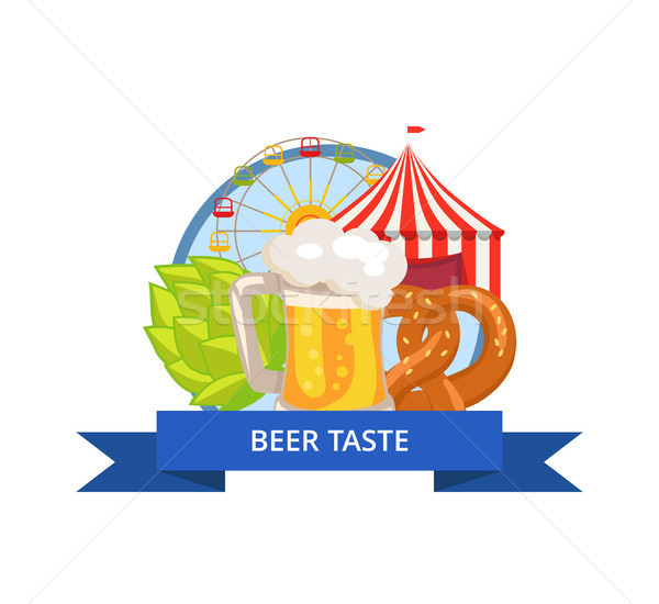 Beer Taste Poster Oktoberfest Vector Illustration Stock photo © robuart