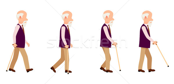 Person with Cane Thin Stick with Curved Handle Set Stock photo © robuart