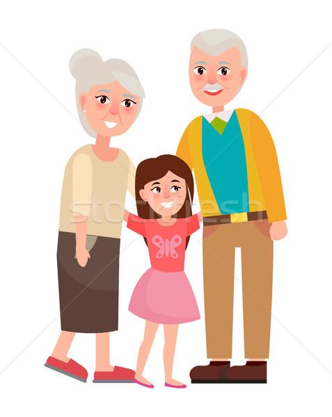 старший дедушка и бабушка внучка изолированный белый счастливым Сток-фото © robuart