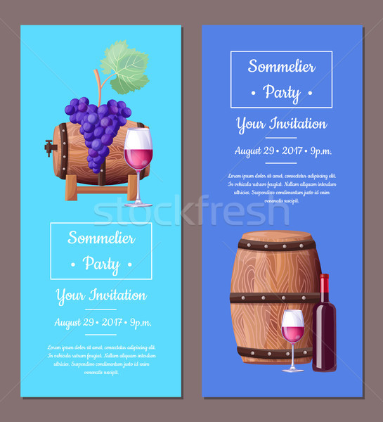 Sommelier Party Invitation Vector Illustration Set Stock photo © robuart