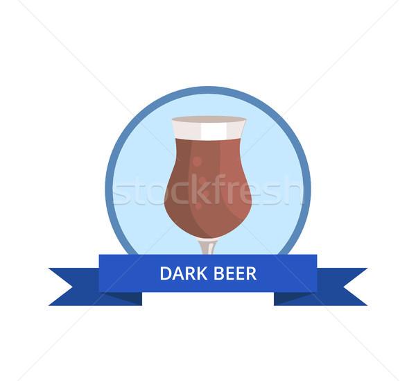 Dark Beer in Tulip Shape Glass Vector Logo Design Stock photo © robuart
