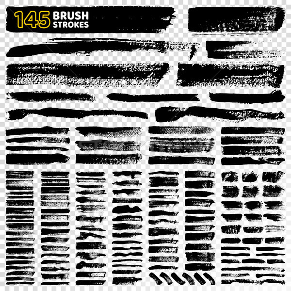 145 Brush Strokes Types on Vector Illustration Stock photo © robuart