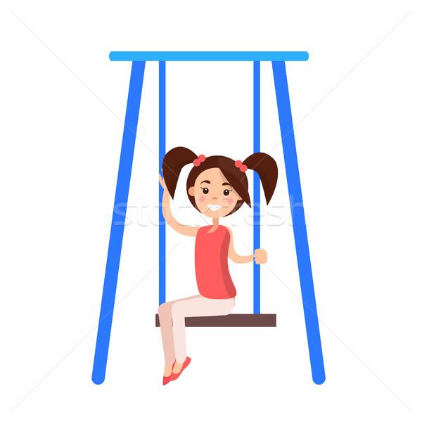 Kislány kék hinta mosoly izolált fehér Stock fotó © robuart