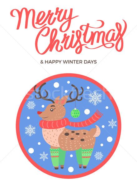 Alegre Navidad feliz invierno ciervos calcetines Foto stock © robuart