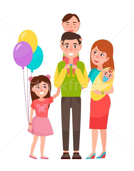 Big Happy Family Icon Vector Illustration Stock photo © robuart