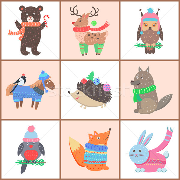 Set of Posters of Cute Animals Vector Illustration Stock photo © robuart