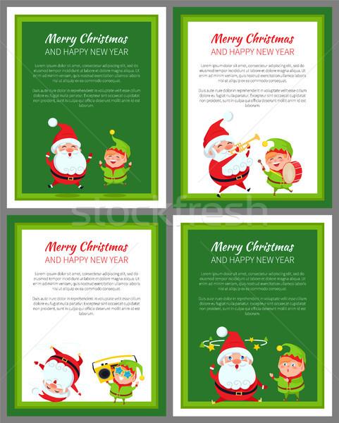Quatre nouvelle année cartes elf Photo stock © robuart
