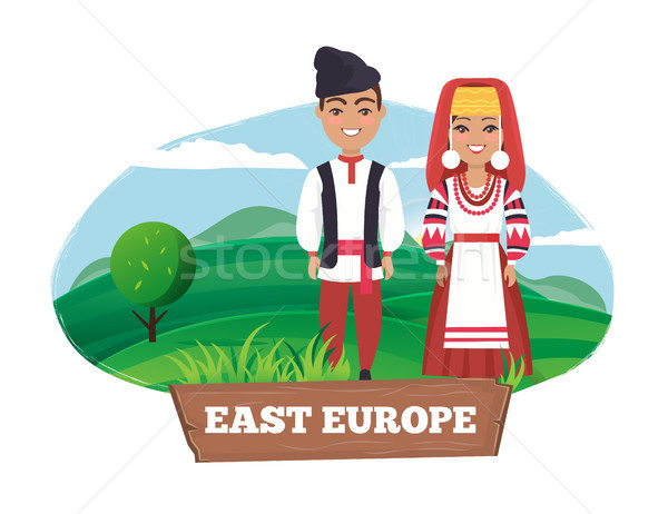 East Europe Man and Women on Vector Illustration Stock photo © robuart