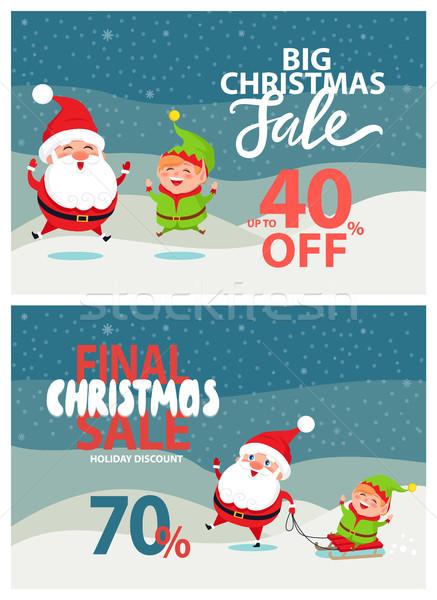 Final natal venda férias desconto pôsteres Foto stock © robuart
