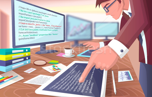Developer with Screens on Vector Illustration Stock photo © robuart